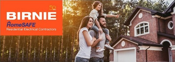 Birnie Homesafe Electrical contractors spring newsletter, family standing in front of house
