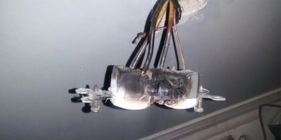 burnt out electrical receptacle