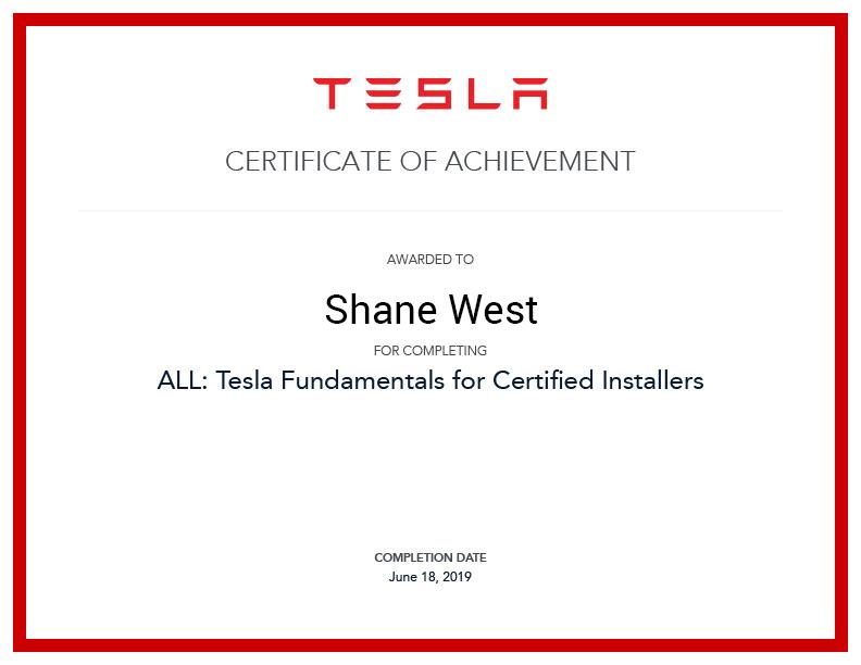 Tesla motors certificate