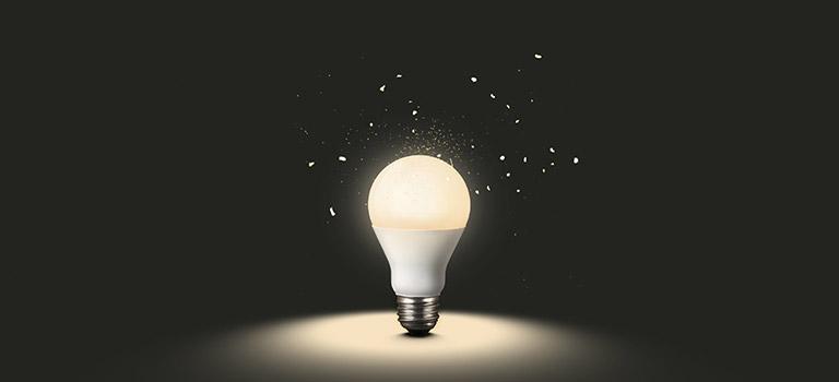 led light on dark background